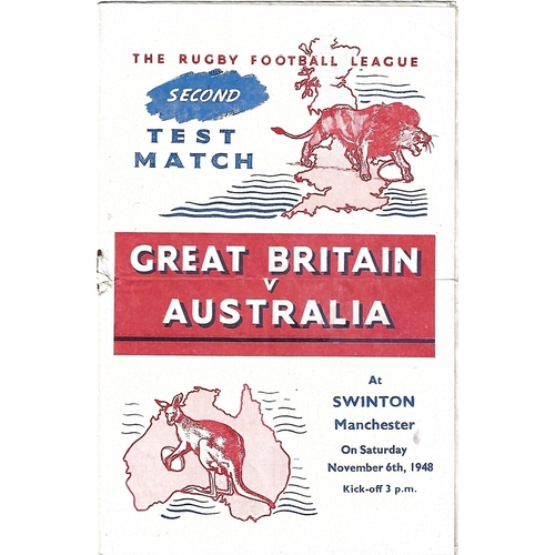 1948 Great Britain v Australia Second Test Match Rugby League Programme