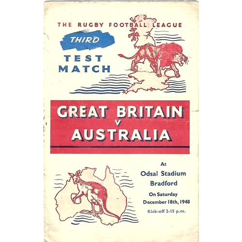 1948 Great Britain v Australia Third Test Match Rugby League Programme