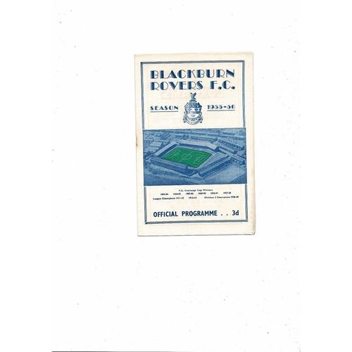 1955/56 Blackburn Rovers v Barnsley Football Programme