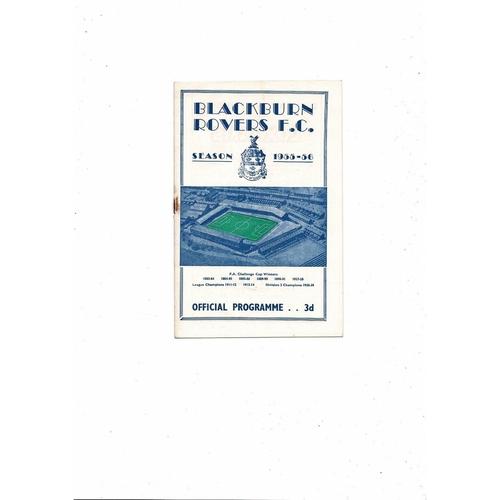 1955/56 Blackburn Rovers v Doncaster Rovers Football Programme