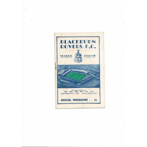 1955/56 Blackburn Rovers v Middlesbrough Football Programme