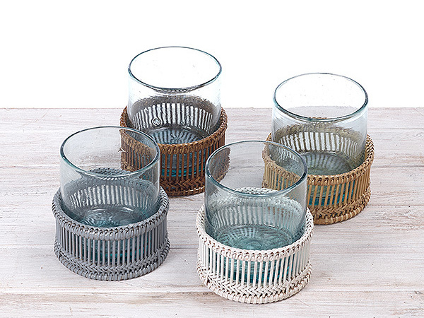 Rattan Tea light Holder/ Candle Holder  with Recycled Handblown Glass - Dia 10cm x H 12cm