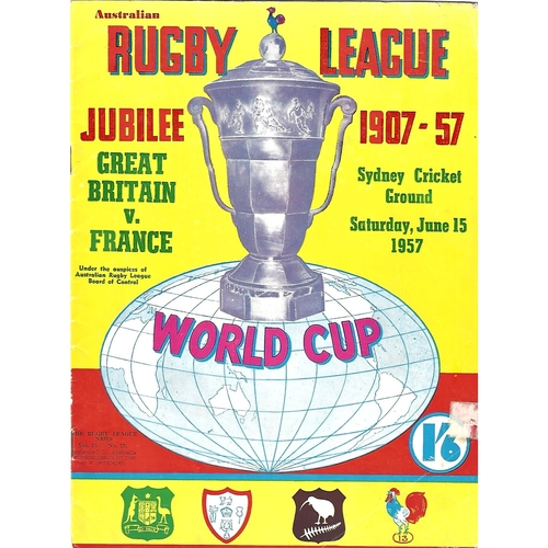 1957 Great Britain v France World Cup Rugby League Programme