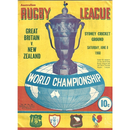 1968 Great Britan v New Zealand World Cup Rugby League Programme