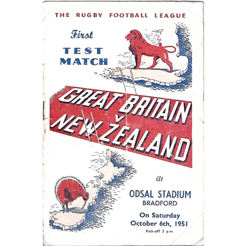 1951 Great Britain v New Zealand First Test Match Rugby League Programme