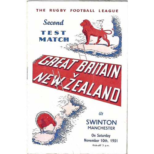 1951 Great Britain v New Zealand Second Test Match Rugby League Programme