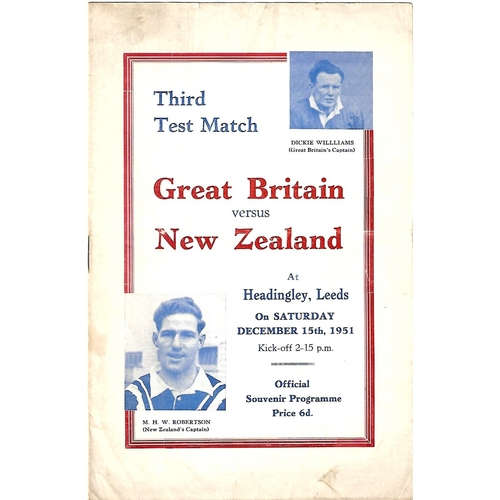 1951 Great Britain v New Zealand Third Test Match Rugby League Programme