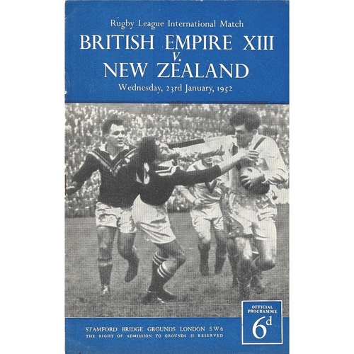 1952 British Empire XIII v New Zealand Rugby League Programme
