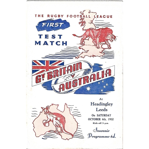 1952 Great Britain v Australia First Test Match Rugby League Programme