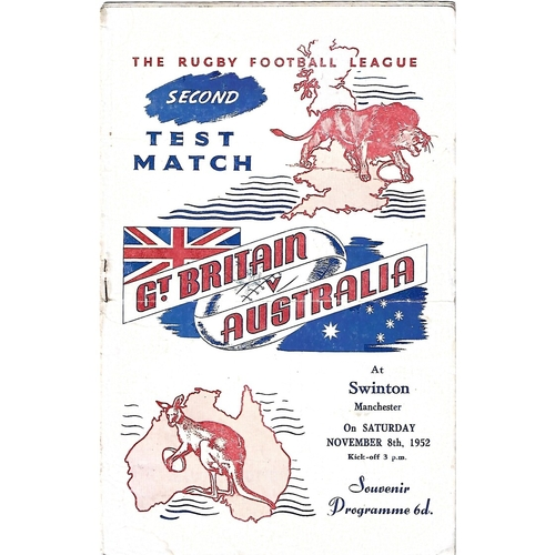 1952 Great Britain v Australia Second Test Match Rugby League Programme