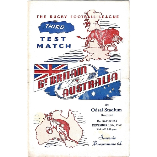 1952 Great Britain v Australia Third Test Match Rugby League Programme