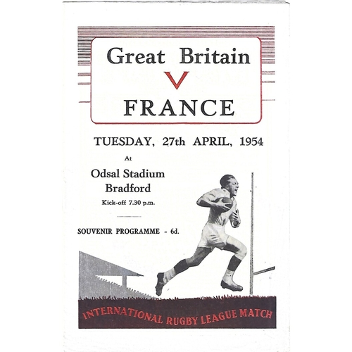 1954 Great Britain v France Rugby League Programme