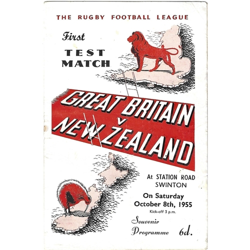 1955 Great Britain v New Zealand First Test Match Rugby League Programme
