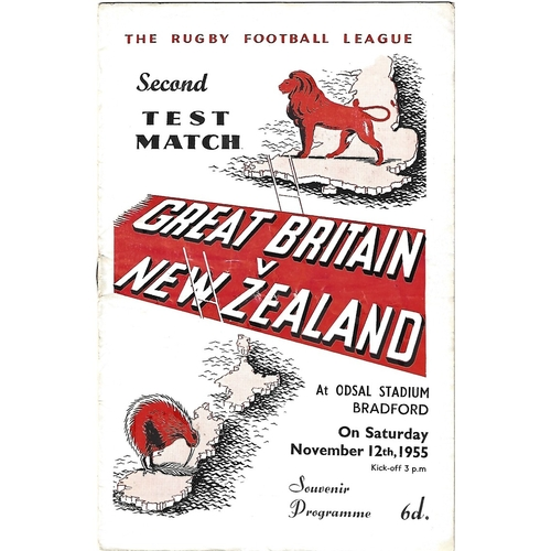 1955 Great Britain v New Zealand Second Test Match Rugby League Programme