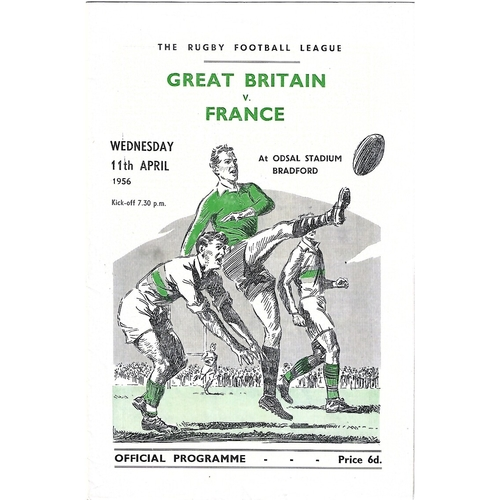 1956 Great Britain v France Rugby League Programme