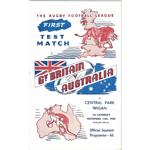 1956 Great Britain v Australia First Test Match Rugby League Programme