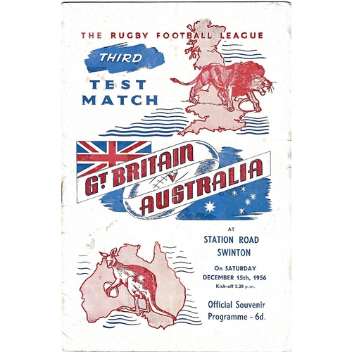 1956 Great Britain v Australia Third Test Match Rugby League Programme