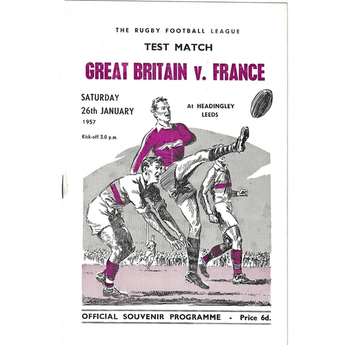 1957 Great Britain v France Rugby League Programme