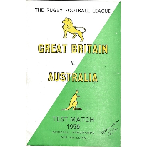 1959 Great Britain v Australia First Test Match Rugby League Programme