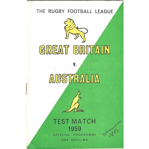 1959 Great Britain v Australia Second Test Match Rugby League Programme