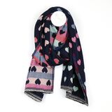 Navy Hearts Scarf