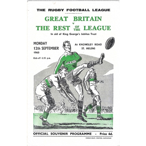 1960 Great Britain v Rest of the League Programme
