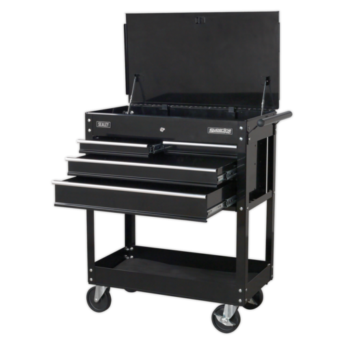 Heavy-Duty Mobile Tool & Parts Trolley with 4 Drawers & Lockable Top - Black - AP850MB