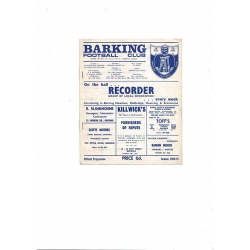 1969/70 Barking v Crystal Palace London Challenge Cup Football Programme