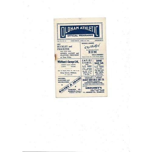 1952/53 Oldham Athletic v Accrington Stanley Football Programme