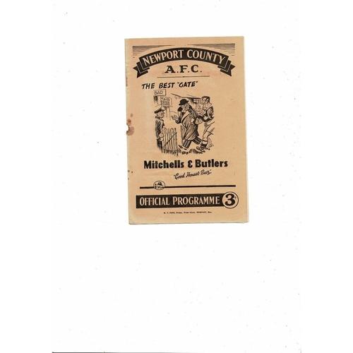 1950/51 Newport County v Port Vale Football Programme