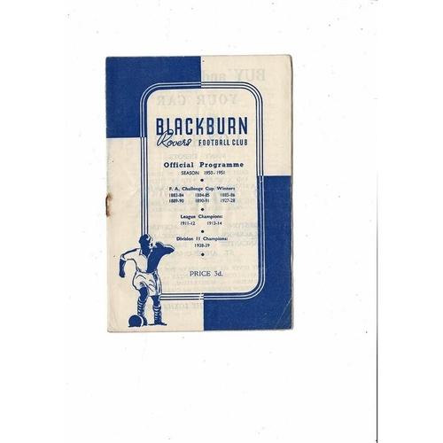 1950/51 Blackburn Rovers v Preston Football Programme