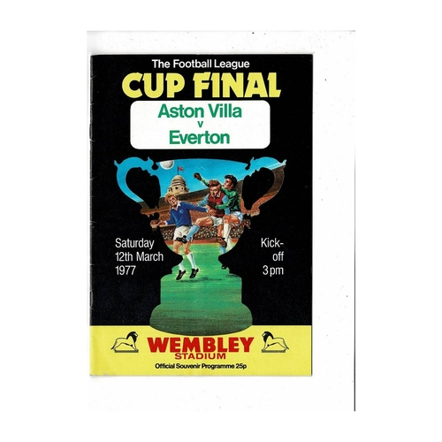 1977 Aston Villa v Everton League Cup Final Football Programme