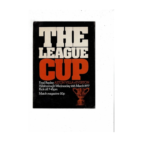 1977 Aston Villa v Everton League Cup Final Replay Football Programme