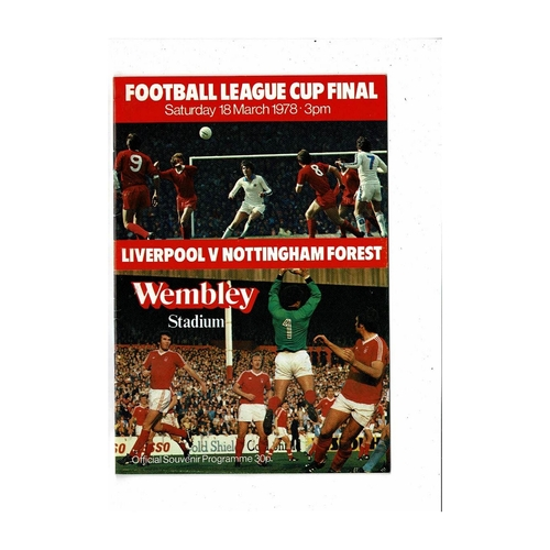 1978 Liverpool v Nottingham Forest League Cup Final Football Programme