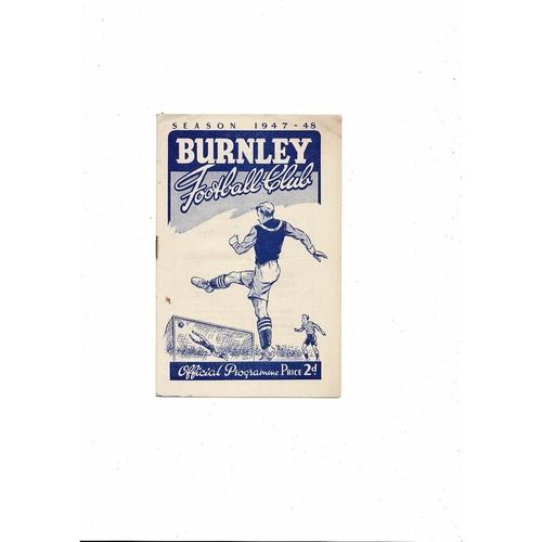 1947/48 Burnley v Derby County Football Programme