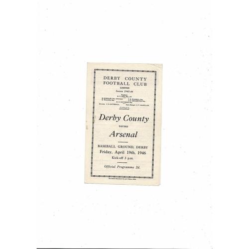1945/46 Derby County v Arsenal Football Programme