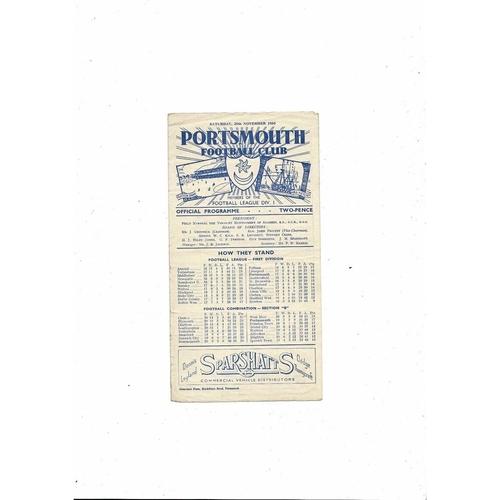 1950/51 Portsmouth v Aston Villa Football Programme