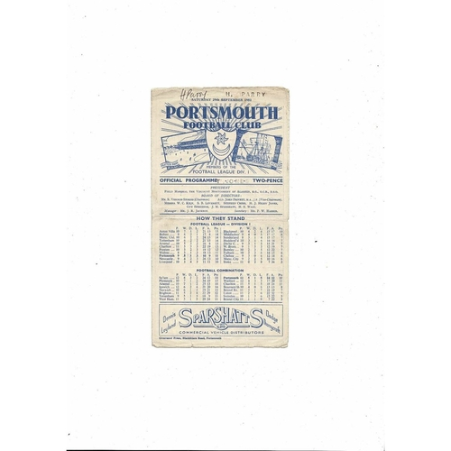 1951/52 Portsmouth v Aston Villa Football Programme