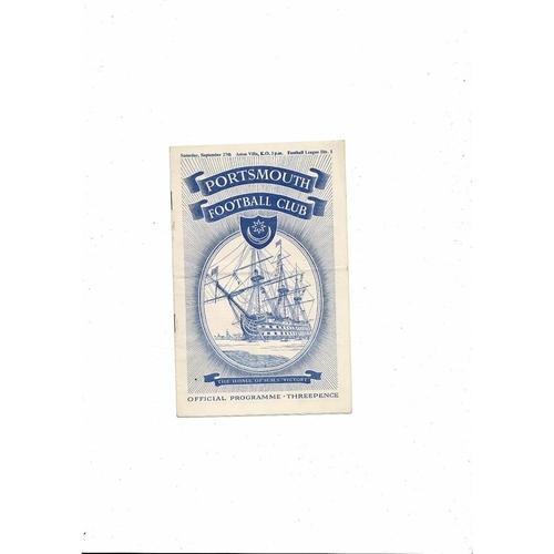 1952/53 Portsmouth v Aston Villa Football Programme