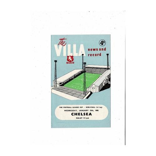 1964/65 Aston Villa v Chelsea League Cup Semi Final Football Programme