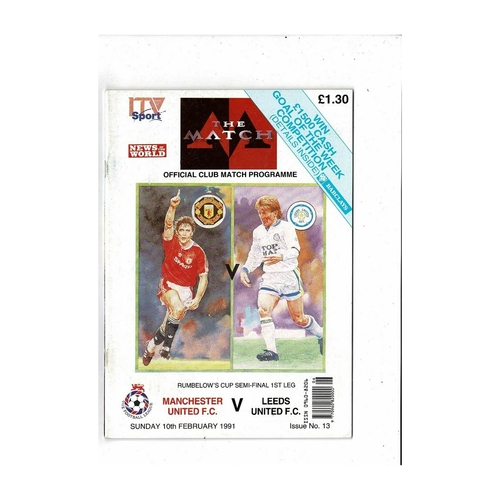 1990/91 Manchester United v Leeds United League Cup Semi Final TV Edition Programme