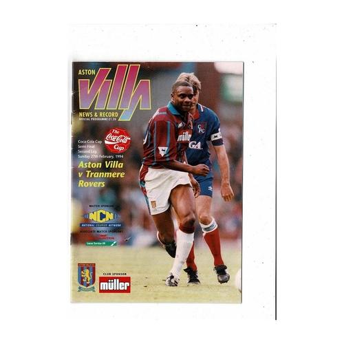 1993/94 Aston Villa v Tranmere Rovers League Cup Semi Final Football Programme
