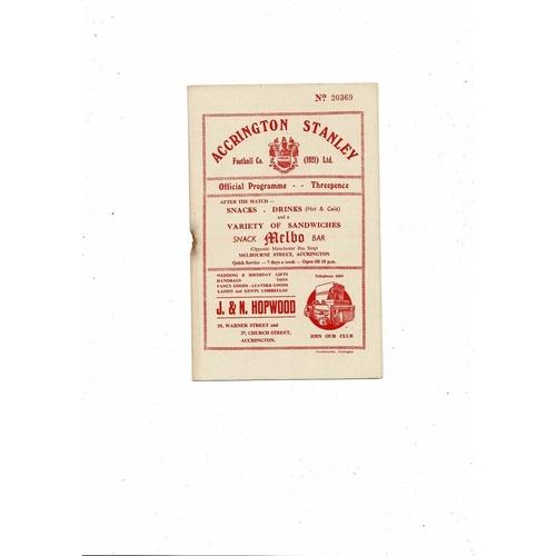 Accrington Stanley v Bolton Wanderers Friendly Football Programme 1955/56