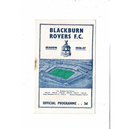 1956/57 Blackburn Rovers v Barnsley Football Programme