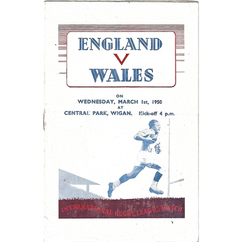 1950 England v Wales Rugby League Programme