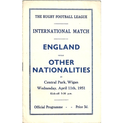 1951 England v Other Nationalities Rugby League Programme