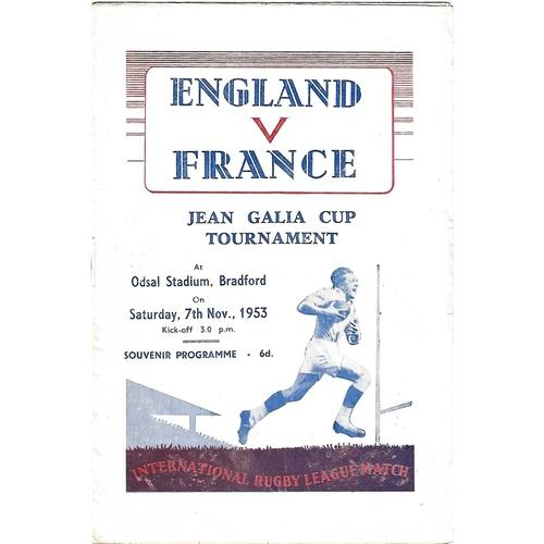 1953 England v France Rugby League Programme