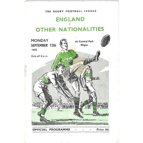 1955 England v Other Nationalities Rugby League Programme