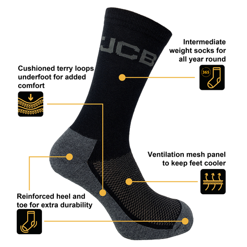 JCB - Men's Black Everyday Work boot Socks - 3 Pairs