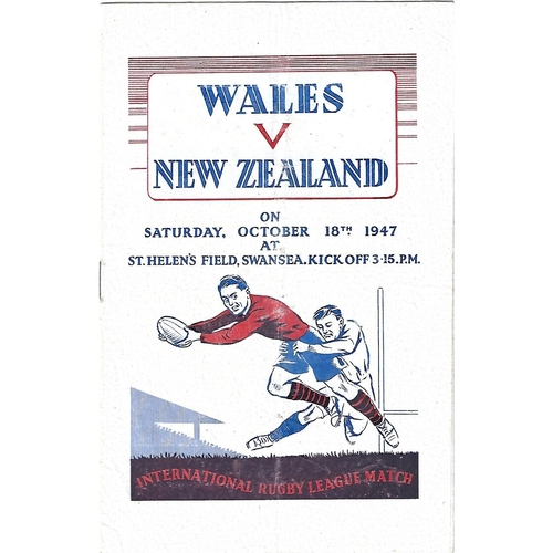1947 Wales v New Zealand Rugby League Programme